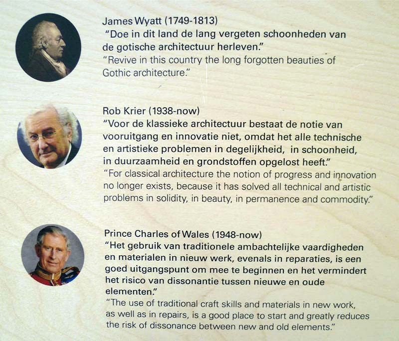 Infodesk at Architekturinstitut in Amsterdam with quotes of James Wyatt, Rob Krier, Prince Charles of Wales,...